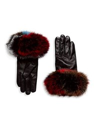Surell Chic Fox Fur Leather Gloves Black Multi