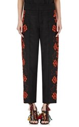 Chloe Women's Floral Embroidered Linen Pants Black