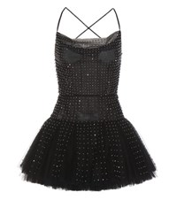 Valentino Embellished Tulle Mini Dress Black