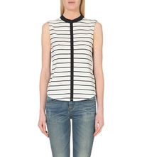Karen Millen Sleeveless Striped Shirt Grey