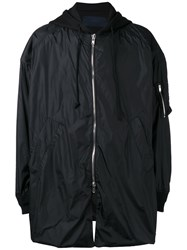 Juun.J Oversized Hooded Coat Black