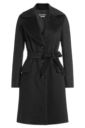 Boutique Moschino Wool Mohair Belted Coat Black