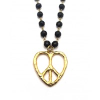 Zt Peace And Love Beaded Long Chain Pendant