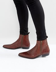 Asos Chelsea Boots In Brown Leather With Snake Detail Brown