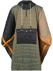 Mostly Heard Rarely Seen Quilted Padded Poncho Nylon Polyester Green