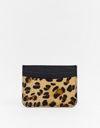 Urbancode Leather Card Holder In Leopard Brown