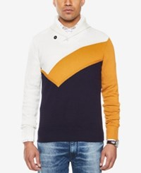 Sean John Men's Colorblocked Shawl Collar Sweater Cream