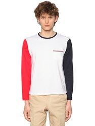Thom Browne Color Block Jersey Long Sleeve T Shirt