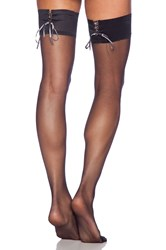 Pretty Polly Corset Style Lace Up Thigh High Black