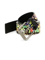 Moschino Fantasy Graphic Printed Leather Belt Multicolor