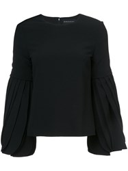 Brandon Maxwell Plated Sleeves Blouse Polyester Spandex Elastane Acetate Viscose Black