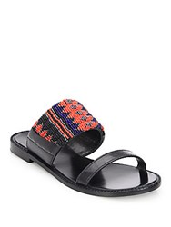 Dannijo Nella Beaded Leather Sandals Black