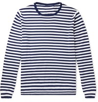 Anderson And Sheppard Striped Cotton Sweater Blue