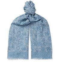 Isaia Fringed Paisley Print Cotton And Linen Blend Scarf Blue