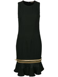 Roberto Cavalli Zipped Peplum Hem Dress Black