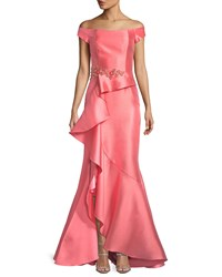 David Meister Off The Shoulder Ruffle Gazaar Gown Coral