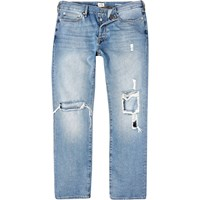River Island Mens Light Wash Ripped Dean Straight Jeans