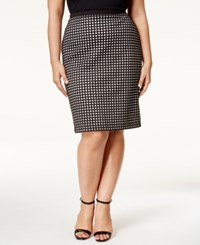 Calvin Klein Plus Size Textured Pull On Pencil Skirt White