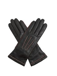 Agnelle Contrast Stitch Leather Gloves Black