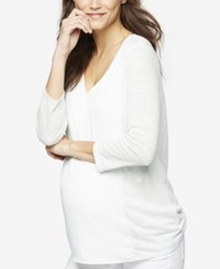A Pea In The Pod Maternity Linen Top Teal Mist