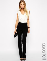 Asos Tall Flare Trousers With Pintuck Black
