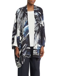 Eskandar Printed Silk Open Front Jacket Navy