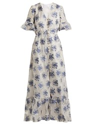 Athena Procopiou In The Hills V Neck Floral Jacquard Dress White Multi