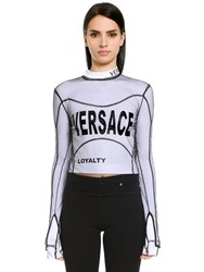 Versace Stretch Jersey T Shirt W Tulle Overlay