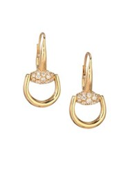 Gucci Horsebit Diamond And 18K Yellow Gold Drop Earrings