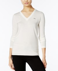 Lacoste V Neck Sweater Cake Flour White