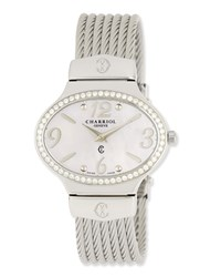 Charriol Darling Mother Of Pearl And Diamond Pave Micro Cable Bracelet Watch Silver