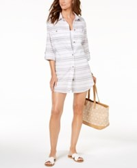 Dotti Havana Cotton Striped Shirtdress Cover Up Women's Swimsuit Grey
