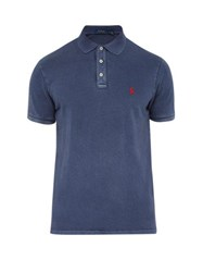 Polo Ralph Lauren Logo Embroidered Washed Cotton Jersey Shirt Navy