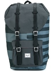 Herschel Supply Co. Striped Buckled Backpack Grey