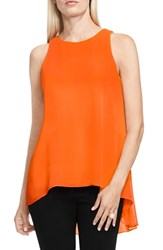 Vince Camuto Women's Sleeveless Crepe High Low Top Orange Burst