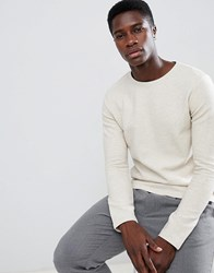 Selected Homme Long Sleeve T Shirt With Textured Structure Oyster Gray Cream