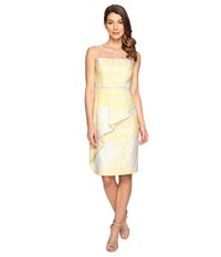 Adrianna Papell Jacquard Sheath Dress W Cascade Peplum Sunbeam Multi Women's Dress Gold