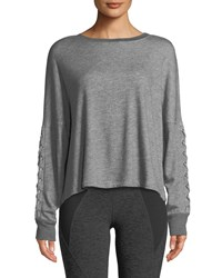 Beyond Yoga Lasso Lace Up Draped Pullover Sweatshirt Gray