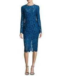 Veronica Beard Gynne Long Sleeve Lace Pencil Dress Blue