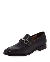 Salvatore Ferragamo Benford Gancini Bit Leather Loafer Black