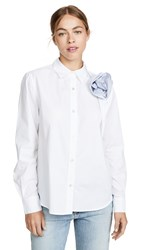 Clu Shirt With Contrast Ruched Flower Detail White Blue