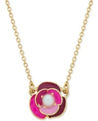 Kate Spade New York Gold Tone Faux Pearl And Enamel Flower Pendant Necklace Purple