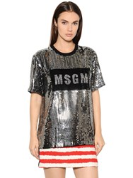 Msgm Logo Sequined Tulle T Shirt