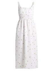 Emilia Wickstead Giovanna Floral Print Cloque Dress White Multi