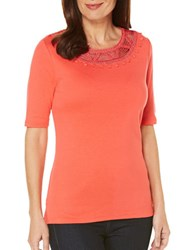 Rafaella Embellished Elbow Sleeved Tee Bright Coral