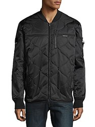 Members Only Quilted Full Zip Bomber Jacket Black