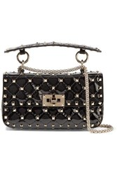 Valentino Garavani The Rockstud Spike Small Quilted Patent Leather Shoulder Bag Black