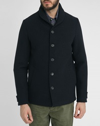 Scotch And Soda Navy Shawl Collar Wool Jacket