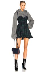 Fenty Puma By Rihanna Dress With Hoodie In Gray Checkered And Plaid Green Blue Gray Checkered And Plaid Green Blue