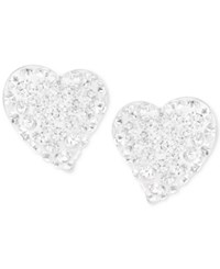 Swarovski Alana Silver Tone Clear Crystal Heart Stud Earrings